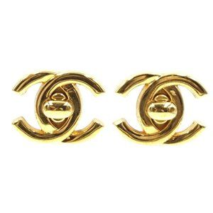 Chanel Gold Cc Turnlock Hardware Clip-on Earrings